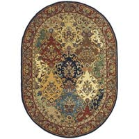 "Safavieh Handmade Heritage Timeless Traditional Multicolor/ Burgundy Wool Rug - 4'6"" x 6'6"" oval"