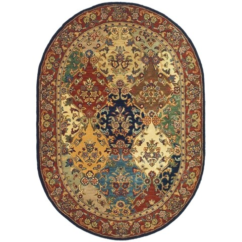 "Safavieh Handmade Heritage Lyra Traditional Multi/ Burgundy Wool Rug - 7'6"" x 9'6"" Oval"