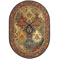 "Safavieh Handmade Heritage Timeless Traditional Multicolor/ Burgundy Wool Rug - 7'6"" x 9'6"" oval"