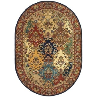 "Safavieh Handmade Heritage Timeless Traditional Multicolor/ Burgundy Wool Rug - 7'6"" x 9'6"" oval"