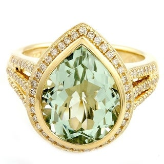 14k Gold Green Amethyst and 2/5ct TDW Diamond Ring(Size 7)