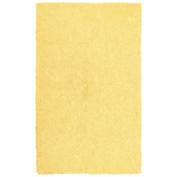 Hand-woven Yellow Chenille Shag Rug (2'6 x 4'2)