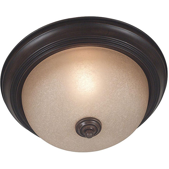 Jubilee One-Light Flush-Mount Ceiling Light with Amber Glass Shade
