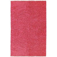 Hand-woven Pink Chenille Shag Rug (2'6 x 4'2) - 2'6 x 4'2