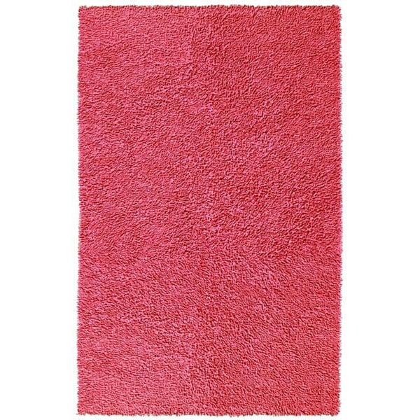 "Hand-woven Pink Chenille Shag Rug (2'6 x 4'2) - 2'6"" x 4'2"""
