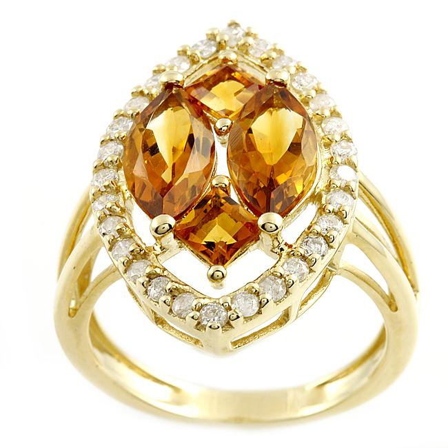Beverly Hills Charm 14k Yellow Gold Citrine and 2/5ct TDW Diamond Ring (H-I, I2)