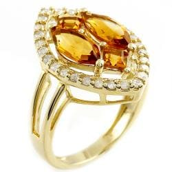 Beverly Hills Charm 14k Yellow Gold Citrine and 2/5ct TDW Diamond Ring (H-I, I2) - Thumbnail 1