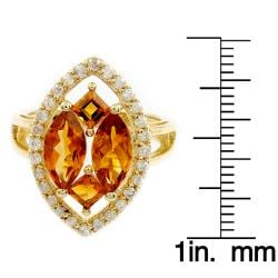 Beverly Hills Charm 14k Yellow Gold Citrine and 2/5ct TDW Diamond Ring (H-I, I2) - Thumbnail 2