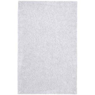 Hand-woven White Chenille Shag Rug (2'6 x 4'2)