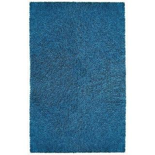 Hand-woven Blue Chenille Shag Rug (2'6 x 4'2)