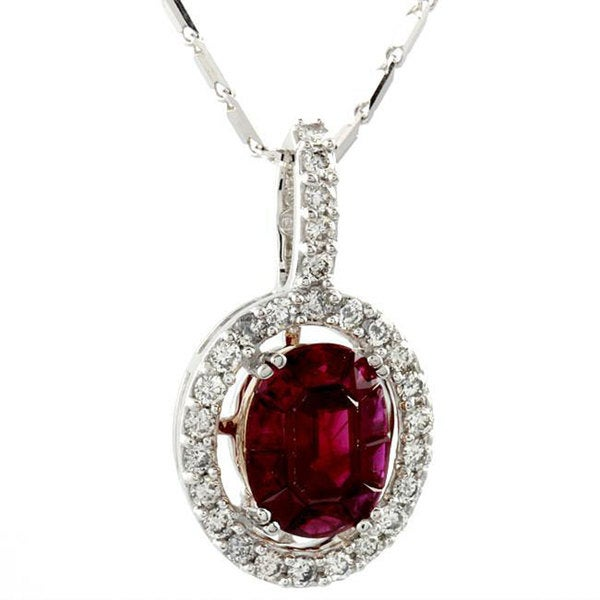 Beverly Hills Charm 18k White Gold Ruby and 2/5ct TDW Diamond Necklace (H, SI1)