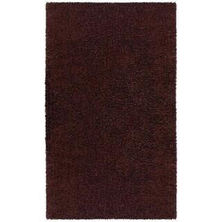 Hand-woven Brown Chenille Shag Rug (2'6 x 4'2)