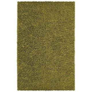Hand-woven Moss Green Chenille Shag Rug (2'6 x 4'2)