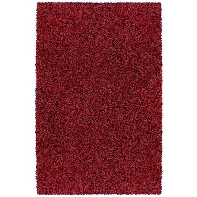 Hand-woven Burgundy Chenille Shag Rug (2'6 x 4'2)
