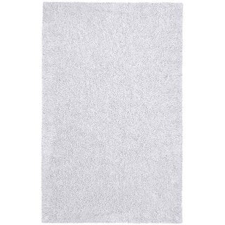Hand-woven White Chenille Shag Rug (4' x 6') - 4' x 6'