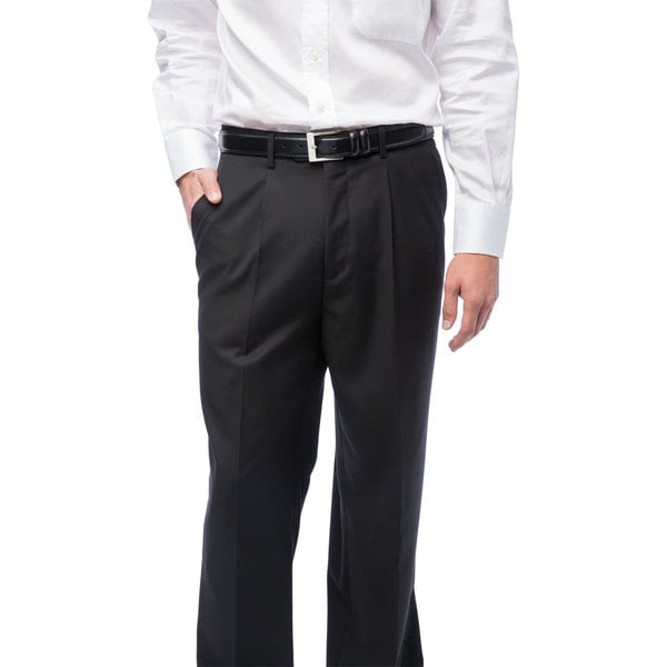 Men's Black Single-pleat Dress Pants - Free Shipping On Orders ...