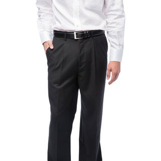 Men's Black Single-pleat Dress Pants