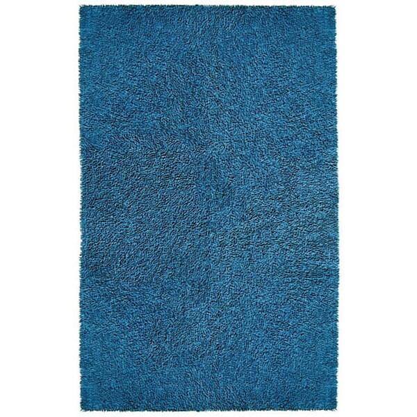 Hand-woven Blue Chenille Shag Rug (4' x 6')