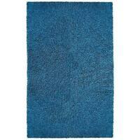 Hand-woven Blue Chenille Shag Rug (4' x 6') - 4' x 6'