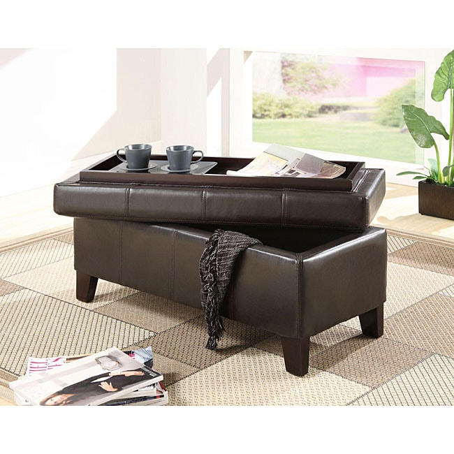 Chocolate Synthetic Leather Storage Bench with Wood Serving Tray