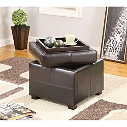 Chocolate Synthetic Leather Storage Cube with Wood Serving Tray
