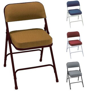 NPS Metal/Fabric Upholstered Box Seat Folding Chairs (Set of 2)