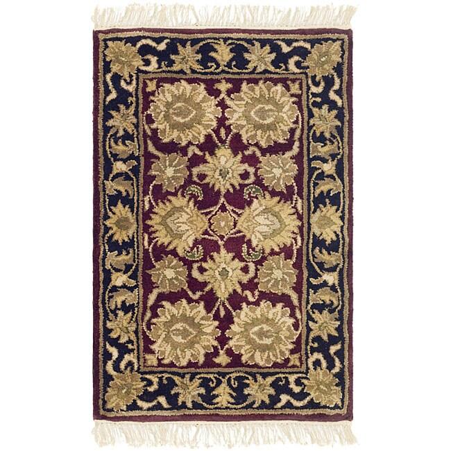 Safavieh Handmade Heirloom Burgundy/ Black Wool Rug (2' x 3')