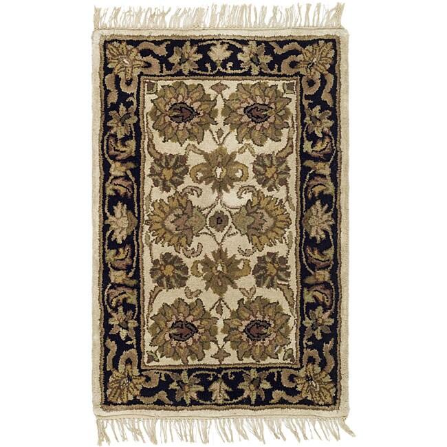 Safavieh Handmade Heirloom Ivory/ Black Wool Rug (2' x 3')