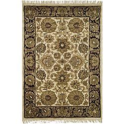 Safavieh Handmade Heirloom Ivory/ Black Wool Rug (4' x 6')