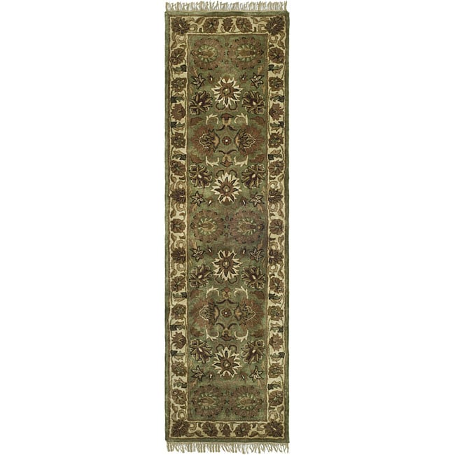 Safavieh Handmade Heirloom Green/ Ivory Wool Runner (2'3 x 12')