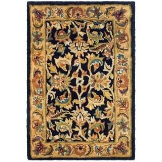 Safavieh Handmade Classic Black/ Gold Wool Rug - 2' X 3'