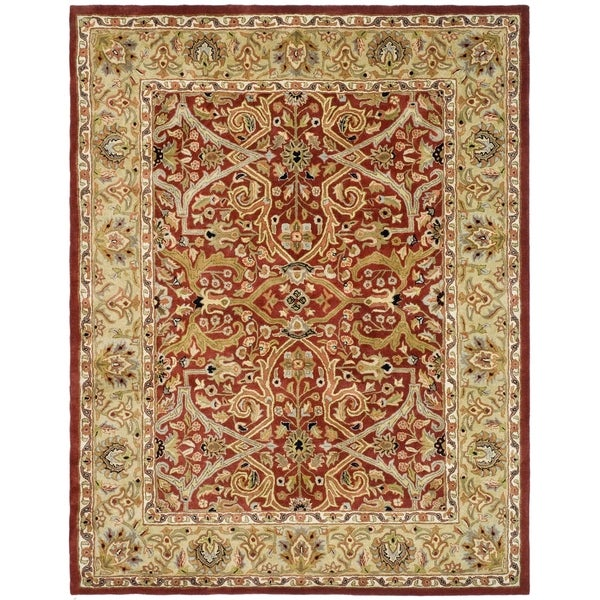 """Safavieh Handmade Heritage Timeless Traditional Red/ Gold Wool Rug - 9'-6"""" x 13'-6"""""""