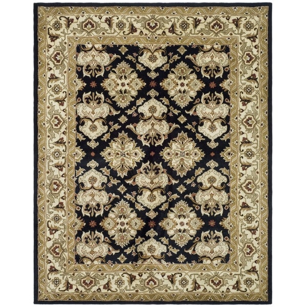 Safavieh Handmade Heritage Timeless Traditional Black/ Ivory Wool Rug - 6' x 9'