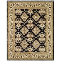 "Safavieh Handmade Heritage Timeless Traditional Black/ Ivory Wool Rug - 7'6"" x 9'6"""