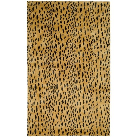 Safavieh Handmade Soho Leopard Skin Beige New Zealand Wool Rug - 5' x 8'