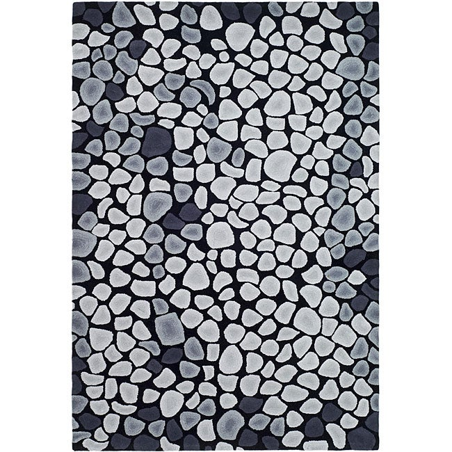 Safavieh Handmade Soho Pebbles Black/ Grey N. Z. Wool Rug - 7'6 x 9'6