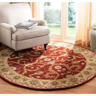 Safavieh Handmade Heritage Timeless Traditional Red/ Gold Wool Rug (3'6 Round)