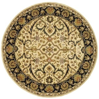 Safavieh Handmade Heritage Timeless Traditional Ivory/ Black Wool Rug (3'6 Round)