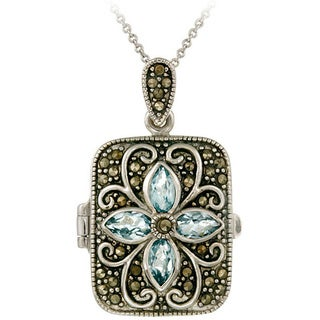 Glitzy Rocks Sterling Silver Gemstone and Marcasite Locket Necklace