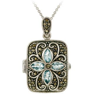 Glitzy Rocks Sterling Silver Gemstone and Marcasite Locket Necklace|https://ak1.ostkcdn.com/images/products/4662384/P12585112.jpg?impolicy=medium