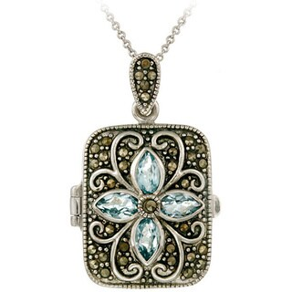 Glitzy Rocks Sterling Silver Gemstone and Marcasite Locket Necklace (4 options available)