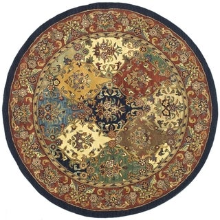 Safavieh Handmade Heritage Timeless Traditional Multicolor/ Burgundy Wool Rug (3'6 Round)