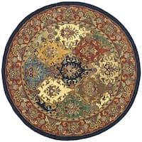 "Safavieh Handmade Heritage Timeless Traditional Multicolor/ Burgundy Wool Rug - 3'6"" x 3'6"" round"