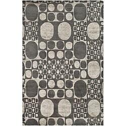 Hand Tufted Contemporary Burdren Gray New Zealand Wool