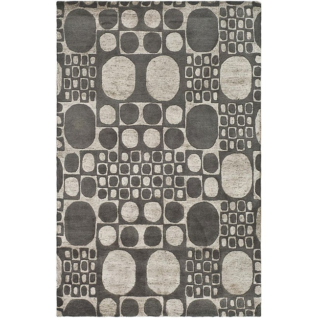 "Safavieh Handmade Soho Deco Stones Grey New Zealand Wool Area Rug (7'6"" x 9'6"") - Thumbnail 0"