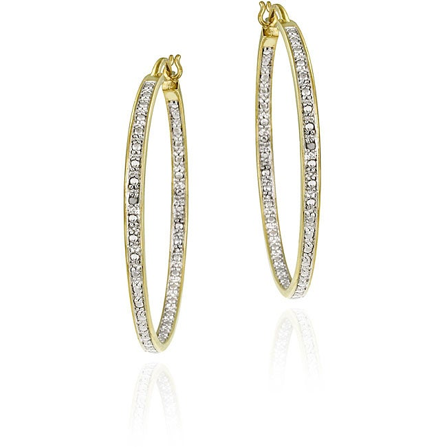 DB Designs 18k Goldplated Sterling Silver Diamond-accent Hoop Earrings - Thumbnail 0