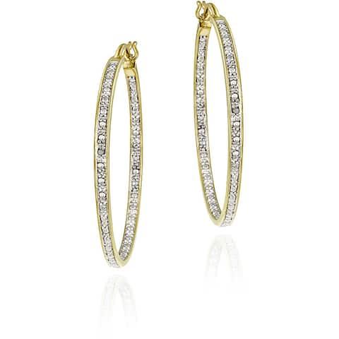 DB Designs 18k Goldplated Sterling Silver Diamond-accent Hoop Earrings