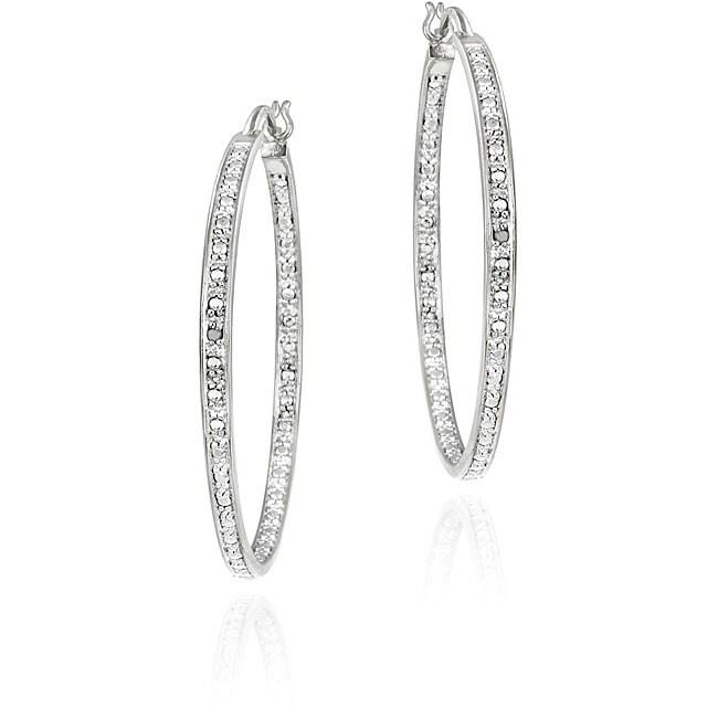 DB Designs Sterling Silver Diamond Accent Hoop Earrings