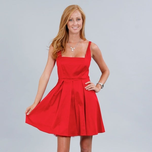 Wishes Junior's Red Square-neck Sleeveless Party Dress