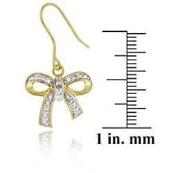 DB Designs 18k Gold over Silver Diamond Accent Bow Earrings - Thumbnail 1